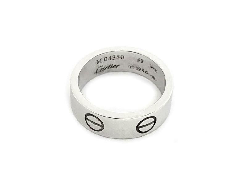 Cartier Love 18k White Gold 5.5mm Band Ring Size EU 49-US 5 w/Cert