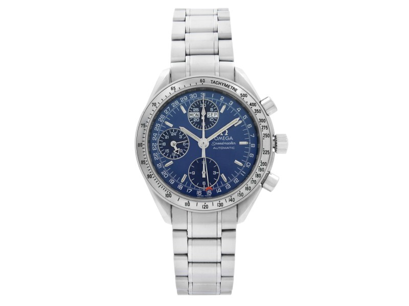 Omega Speedmaster 39mm Chrono Steel Blue Dial Mens Automatic Watch 3523.80.00