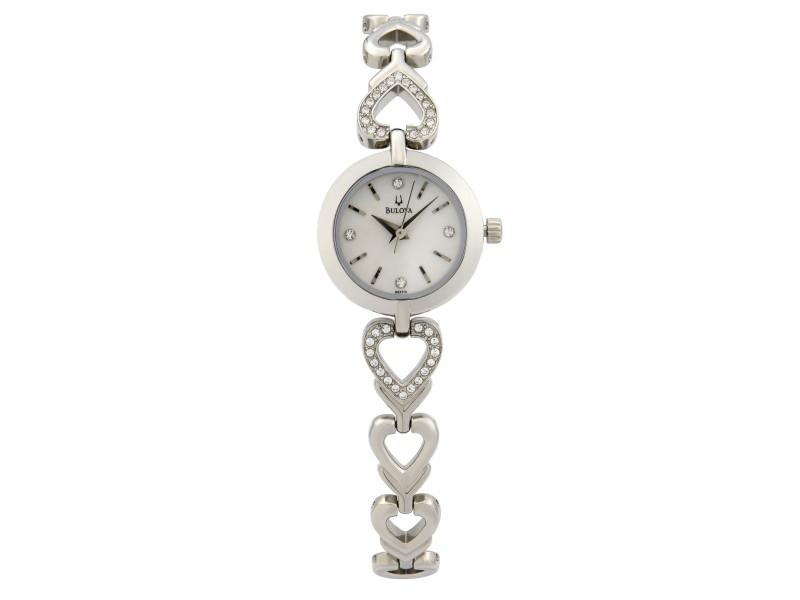 Bulova Crsytals Stainless Steel Silver Dial Quartz Ladies Watch 96X114