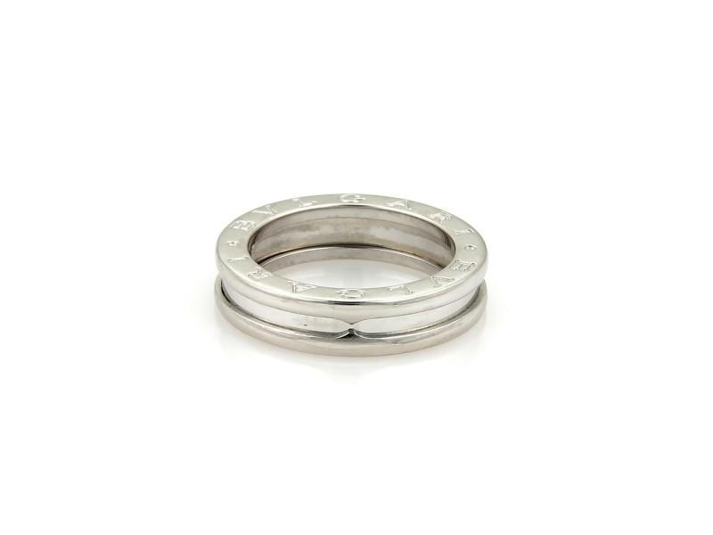 Bvlgari Bulgari B Zero-1 18k White Gold 5mm Single Band Ring Size EU 51 US 5.5