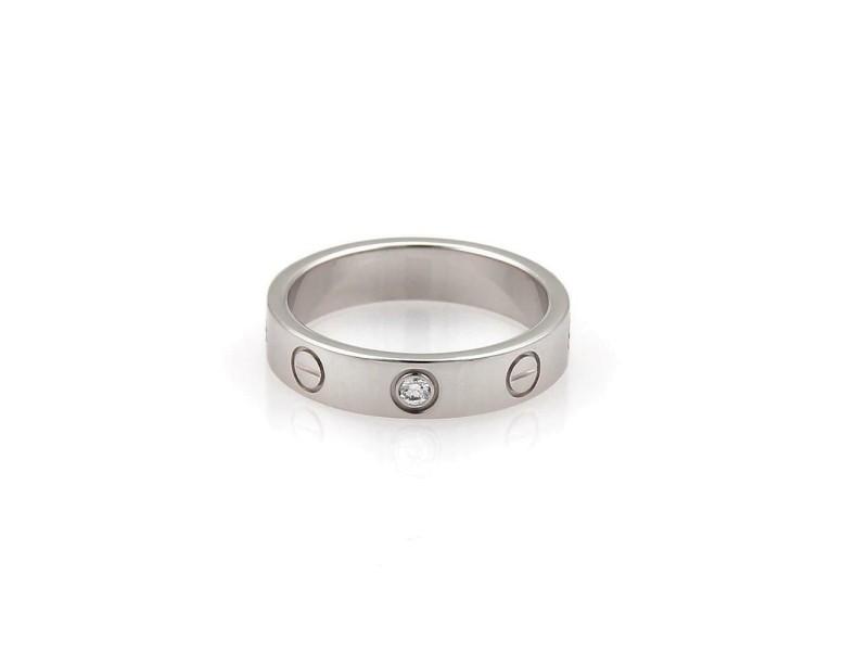 Cartier Mini Love 1 Diamond 18k White Gold 3.5mm Band Ring Size EU 48-US 4