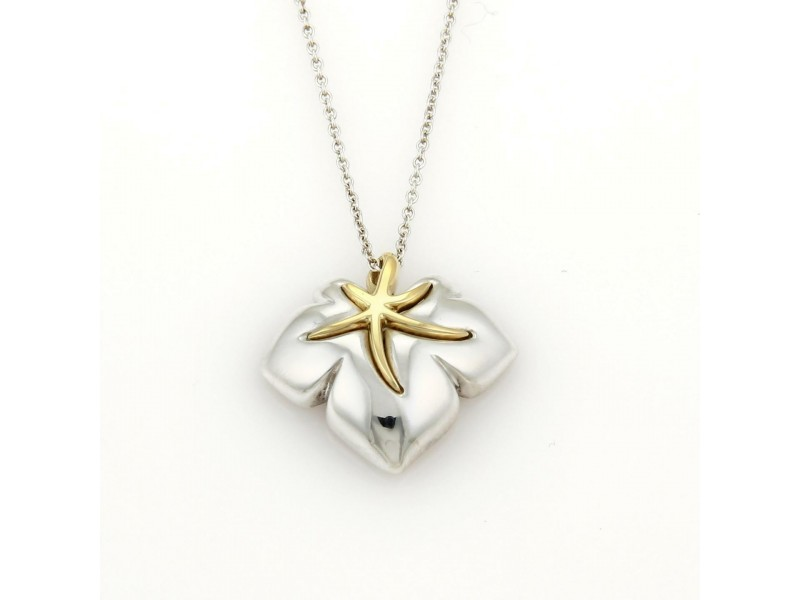 "Tiffany & Co. 1991 ""Ivy"" Sterling 18k YGold Starfish Leaf Pendant Necklace"