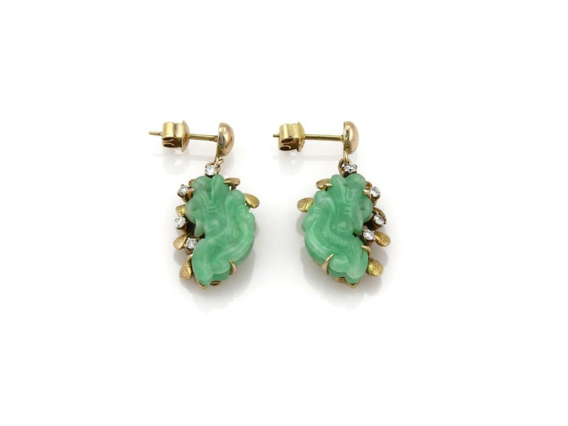 Vintage Diamond & Jade 14k Yellow Gold Carved Floral Drop Dangle Earrings