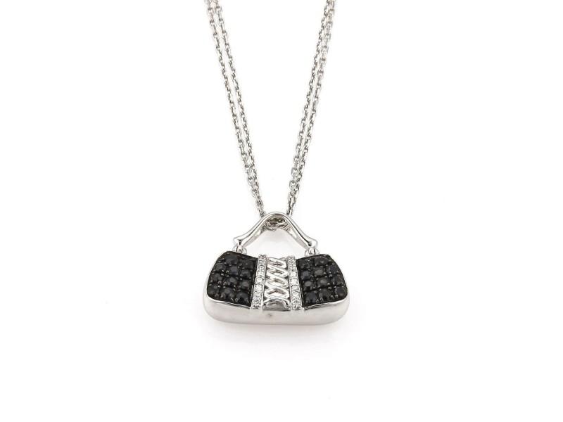 Movado 1.46ct Diamond & Black Sapphire 18k White Gold Purse Pendant & Chain