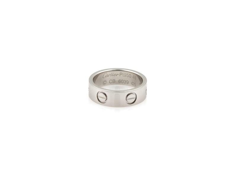 Cartier Love Platinum 5.5mm Wide Band Ring Size EU 48-US 4