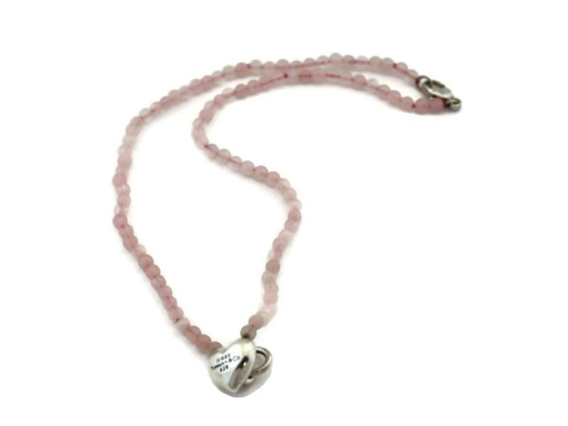 Tiffany & Co Vintage Pink Quarz Sterling Heart Charm Bead Necklace Bracelet