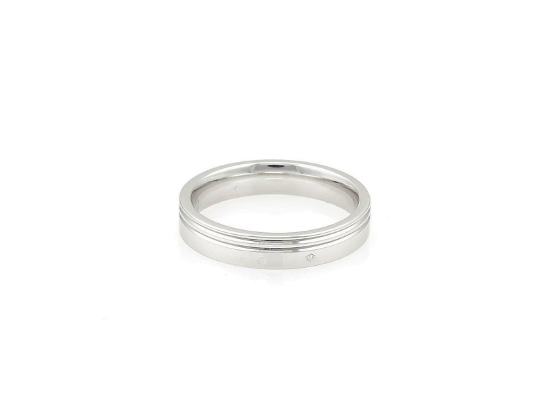 Hermes 18k White Gold 4mm Wide Grooved Band Ring Size 53-US 6.5