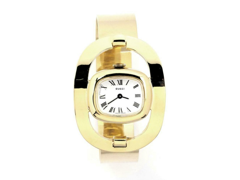 Gucci Vintage 18k Yellow Gold Ladies Fancy Horse Stirrup Motif Wrist Watch