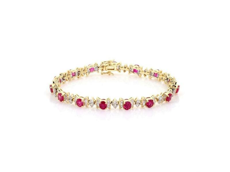 Estate 9.25ct Ruby & Diamond 14k Two Tone Gold Tennis Bracelet