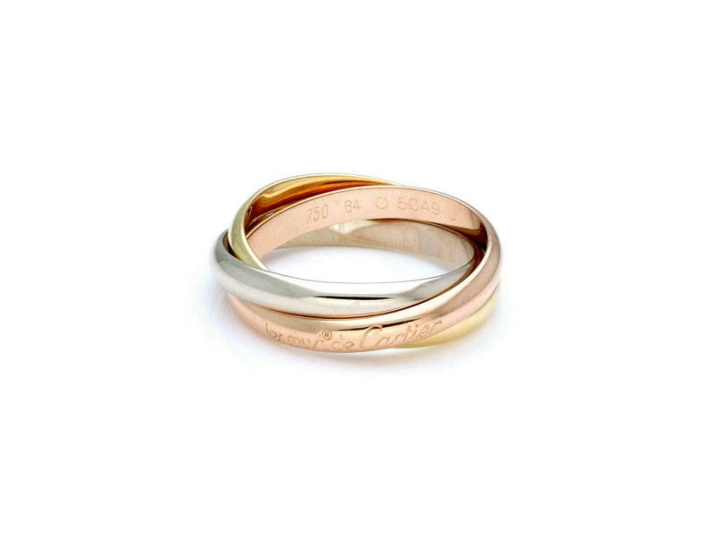Cartier Trinity 18k Tri-Color Gold 3.5mm Band Ring Size EU 64-US 11 w/Paper