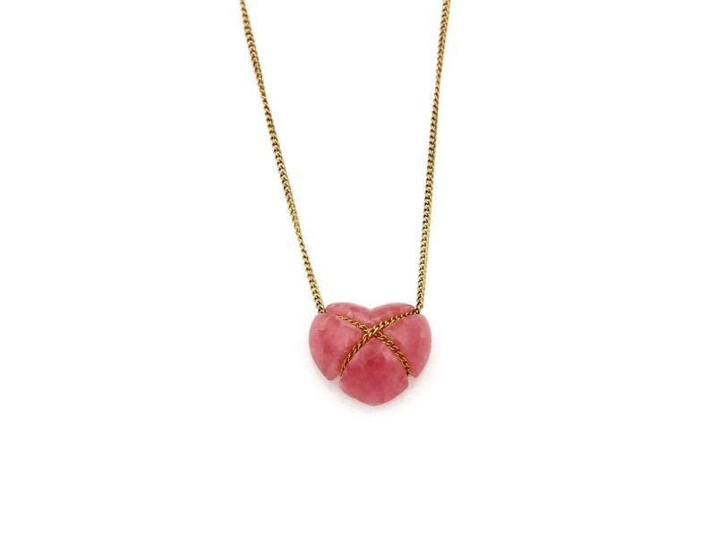 Tiffany & Co Rhodochrosite Heart Crossover Pendant 18k Yellow Gold Necklace