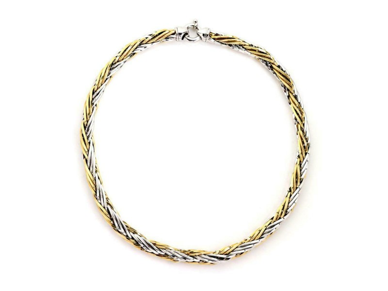 """Italy 14k Two Tone Gold 8.5mm Thick Woven Link Necklace 18"""" Long"""