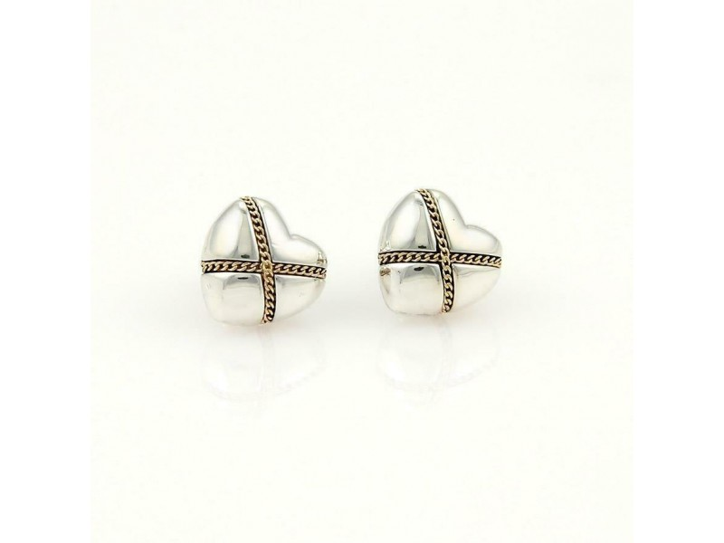Tiffany & Co. Sterling 18k Yellow Gold Hearts X Style Stud Earrings