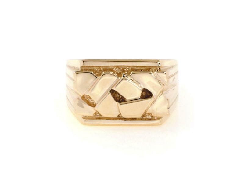 14k Yellow Gold Men's Nugget Ring Size - 9