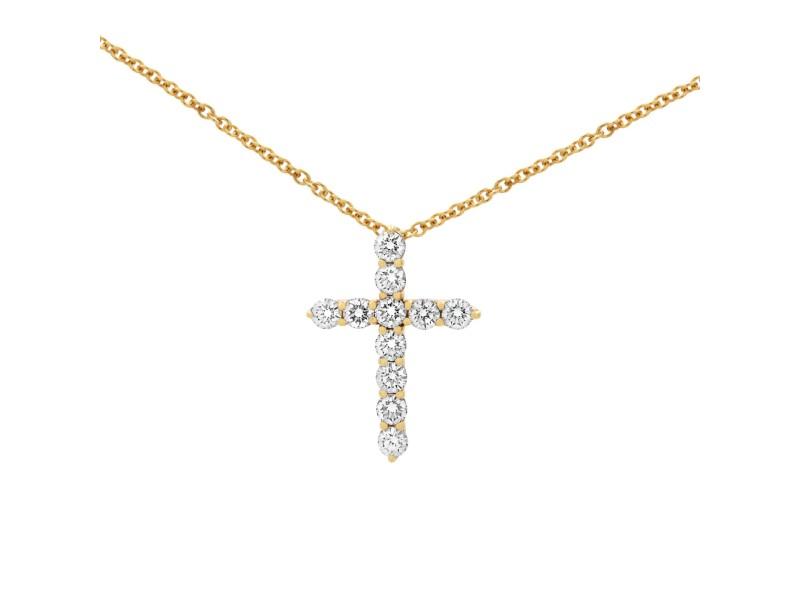 Tiffany & Co. 18k Yellow Gold Diamond Cross Necklace 0.42cttw
