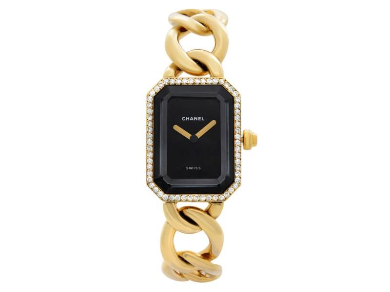 Chanel Premiere 18k Yellow Gold Diamond Black Dial Quartz Ladies Watch H3258