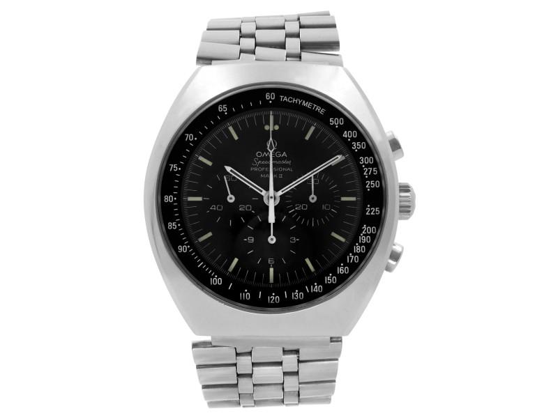 Vintage Omega Speedmaster Mark II Steel Black Dial Hand Wind Mens Watch 145.014