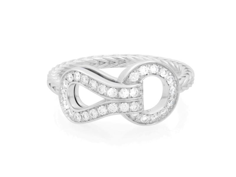 Cartier Agrafe 18K White Gold Diamond Ladies Ring 0.23cttw Size 52