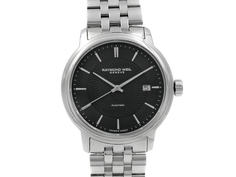 Raymond Weil Maestro Black Sticks Dial Steel Automatic Mens Watch 2237-ST-20001
