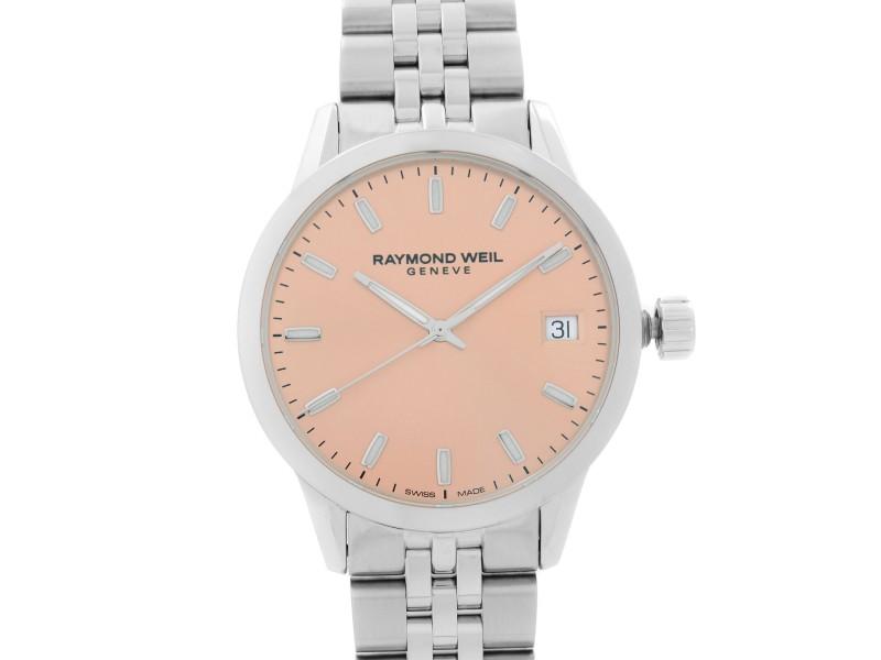Raymond Weil Freelancer Steel Pink Dial Quartz Ladies Watch 5634-ST-80021