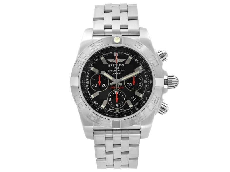 Breitling Chronomat 44mm Steel Black Dial Automatic Mens Watch AB011110/BA50SS