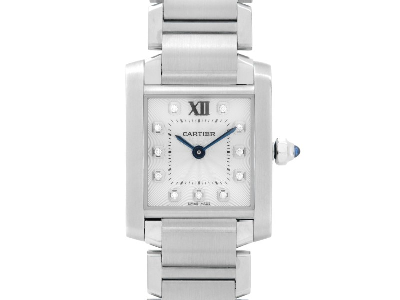 Cartier Tank Francaise Steel Silver Diamond Dial Quartz Ladies Watch WE110006