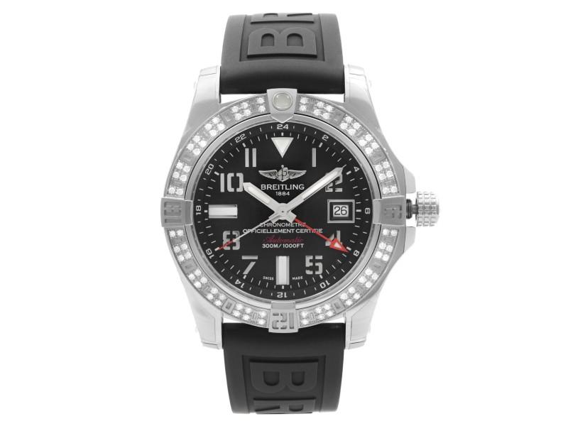 Breitling Avenger II GMT Steel Diamond Bezel Black Dial Watch A3239053/BC34-152S