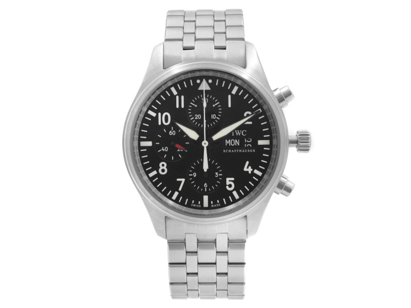 IWC Pilot 42mm Chronograph Steel Black Dial Automatic Mens Watch IW3717-04