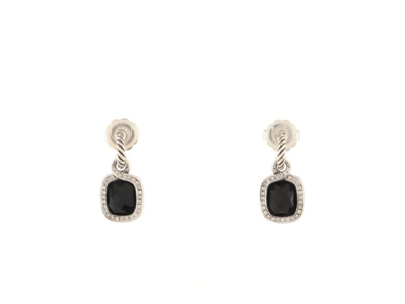 David Yurman Labyrinth Drop Earrings Sterling Silver with Onyx and Diamonds
