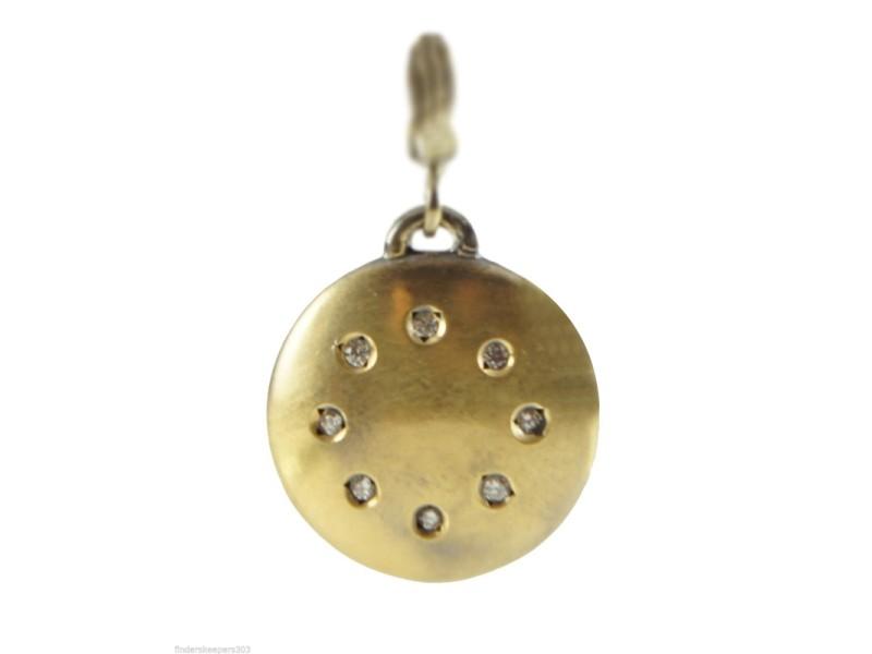 Dominique Cohen 18K Blackened Yellow Gold Diamond Disk Charm Enhancer Pendant