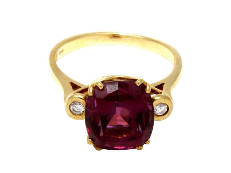 14K Yellow Gold Diamond Rubellite Ring
