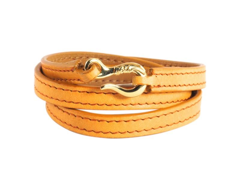 Ippolita 18K Yellow Gold Hook Burnt Orange Leather Wrap Bracelet
