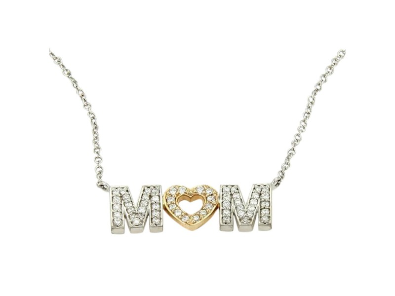 Tiffany & Co. White Gold Diamond MOM Pendant Necklace