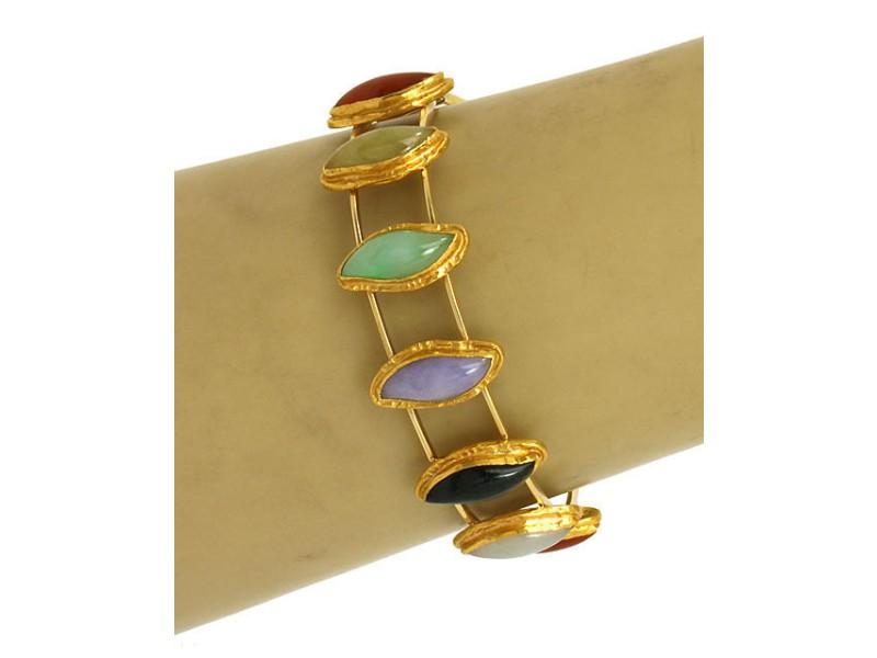 Vintage 18K Yellow Gold Multi-Color Jade Ladies Bangle Bracelet