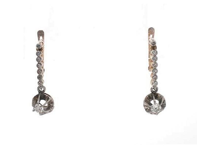 18k Two Tone Gold .70ct Old Mine Cut Diamond Long Drop Dangle Earrings