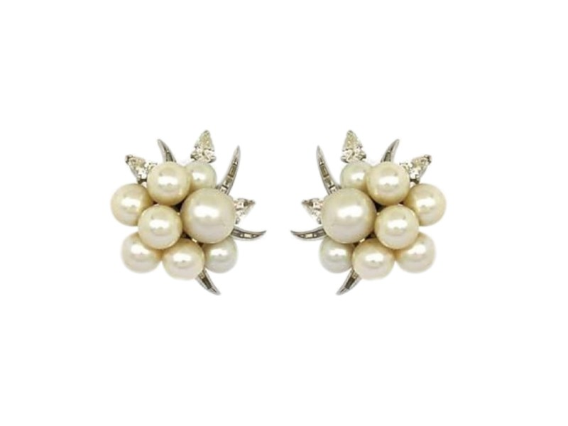 Platinum 14K White Gold Diamond Akoya Pearl Earrings