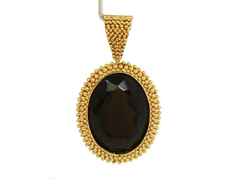 Carla Amorim 18k Yellow Gold Oval Shape Smokey Topaz Bead Design Pendant