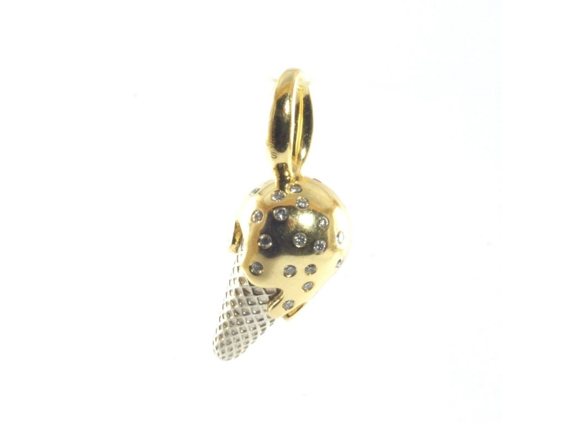 Ippolita 18K Yellow Gold Sterling Silver Diamond Ice Cream Cone Charm Pendant