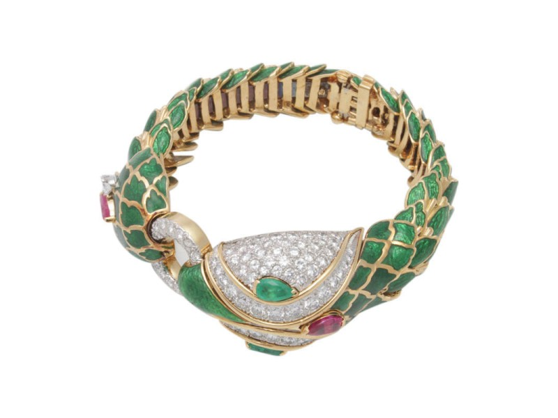 David Webb 18K Yellow Gold & Platinum Emerald, Ruby & Diamond Enamel Snake Bracelet