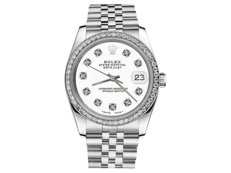 Rolex Datejust Stainless Steel White Color Dial Diamonds Womans 26mm Watch