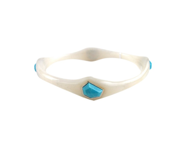 Ippolita 925 Sterling Silver Frosted White Resin & Turquoise Bangle Bracelet