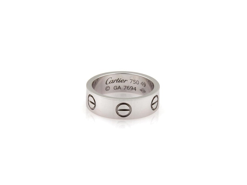 Cartier Love 18K White Gold Band Ring Size 4.75