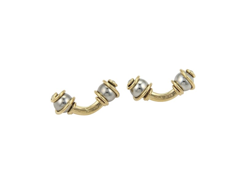Louis Vuitton 18K Yellow Gold and Stainless Steel Swirl Design Double Stud Cufflinks