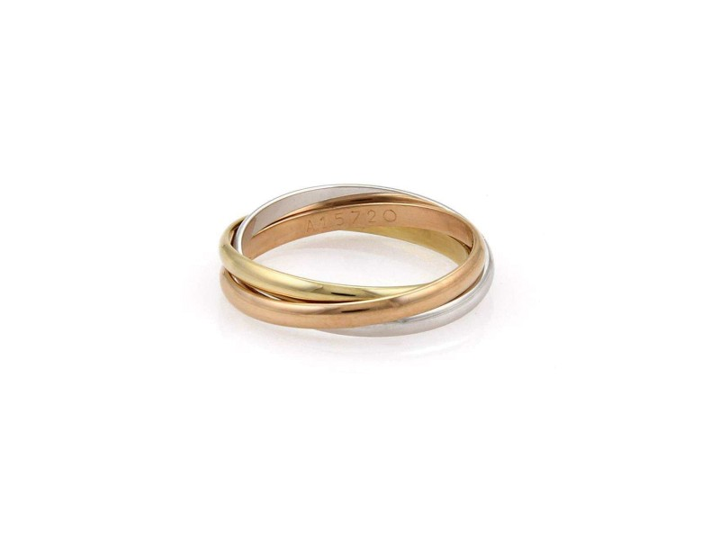 Cartier Trinity 18K Tricolor Gold Rolling Band Ring Size 6.25