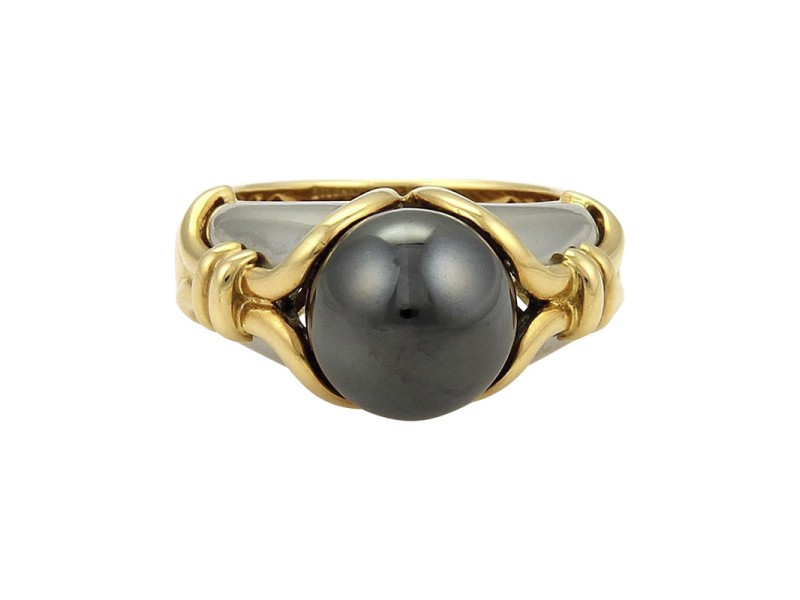 Bulgari 18K Yellow Gold & Stainless Steel Hematite Ring Size 5.5