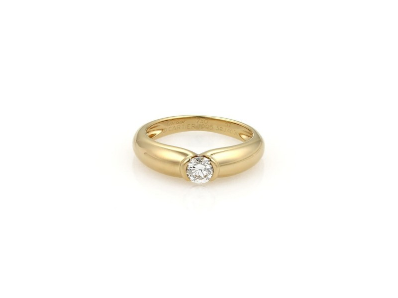 Cartier 18K Yellow Gold & Diamond Solitaire Band Ring Size 5.75