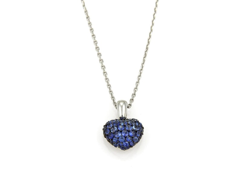 Chopard 18K White Gold with 1.50ct Blue Sapphire Heart Pendant Necklace
