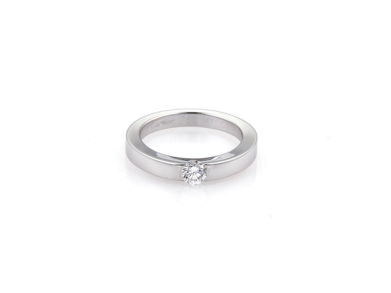 Cartier 18K White Gold & Solitaire Diamond Wedding Band Ring Size 4