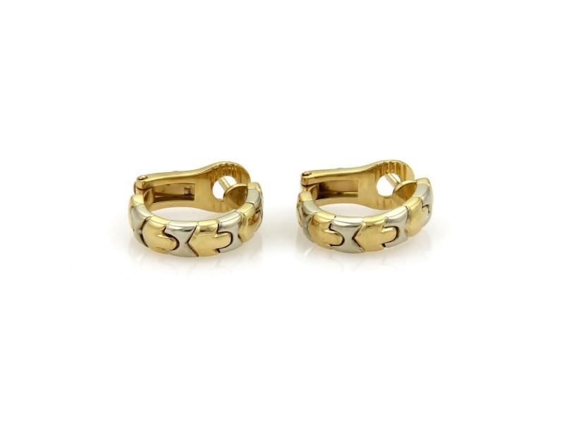 Bulgari Parentesi 18K White and Yellow Gold Wide Hoop Earrings