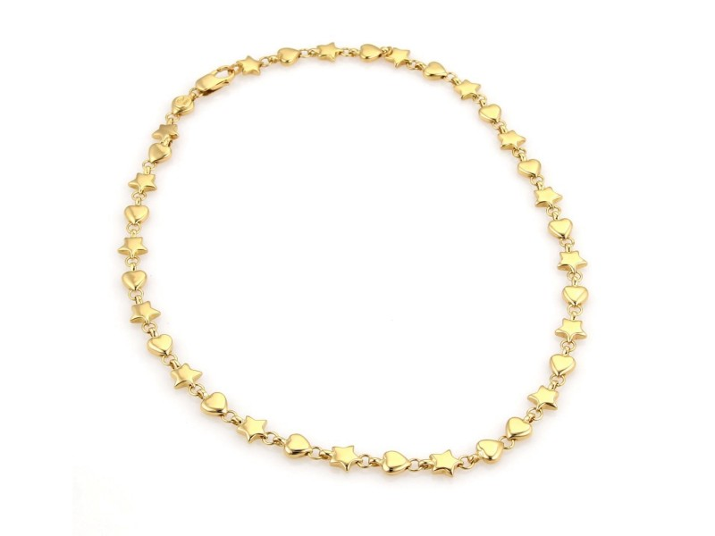 Tiffany & Co. 18K Yellow Gold Hearts & Star Link Necklace